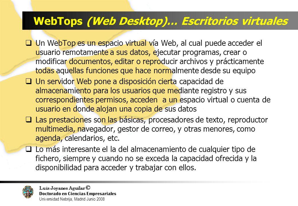 Luis Joyanes Aguilar © Doctorado en Ciencias Empresariales Universidad Nebrija, Madrid Junio 2008 WebTops (Web Desktop)… Escritorios virtuales Un WebT