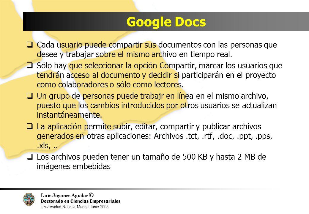 Luis Joyanes Aguilar © Doctorado en Ciencias Empresariales Universidad Nebrija, Madrid Junio 2008 Google Docs Cada usuario puede compartir sus documen