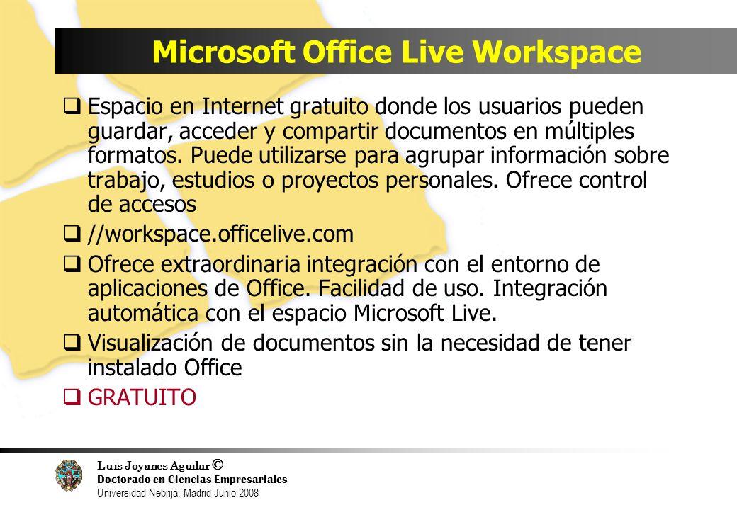 Luis Joyanes Aguilar © Doctorado en Ciencias Empresariales Universidad Nebrija, Madrid Junio 2008 Microsoft Office Live Workspace Espacio en Internet