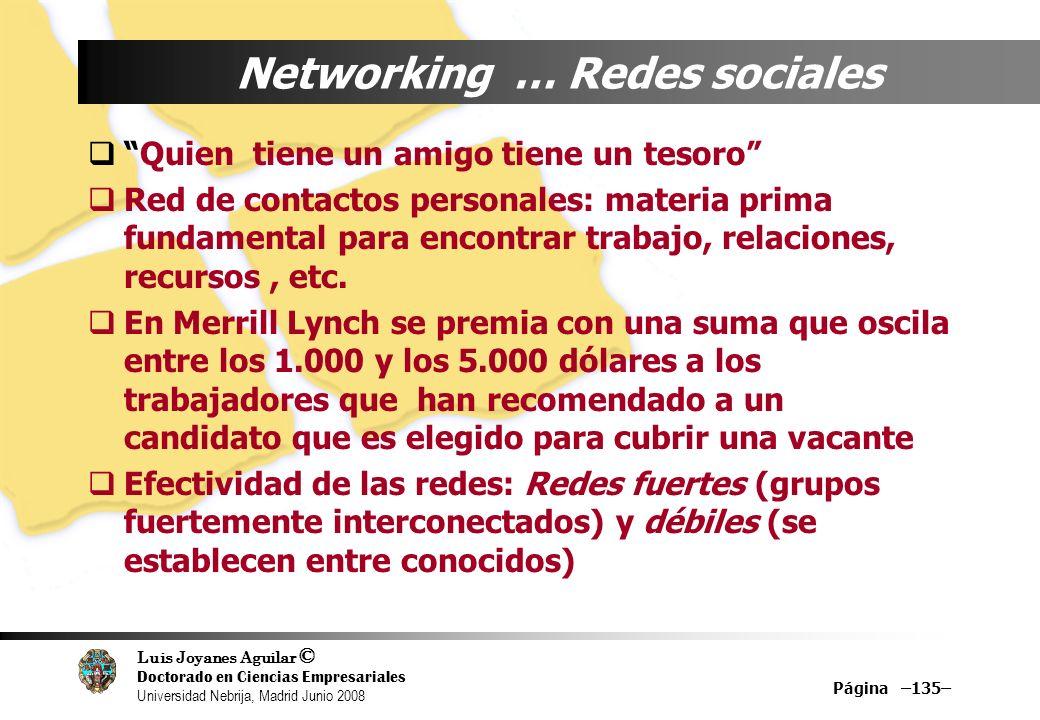 Luis Joyanes Aguilar © Doctorado en Ciencias Empresariales Universidad Nebrija, Madrid Junio 2008 Página –135– Networking … Redes sociales Quien tiene