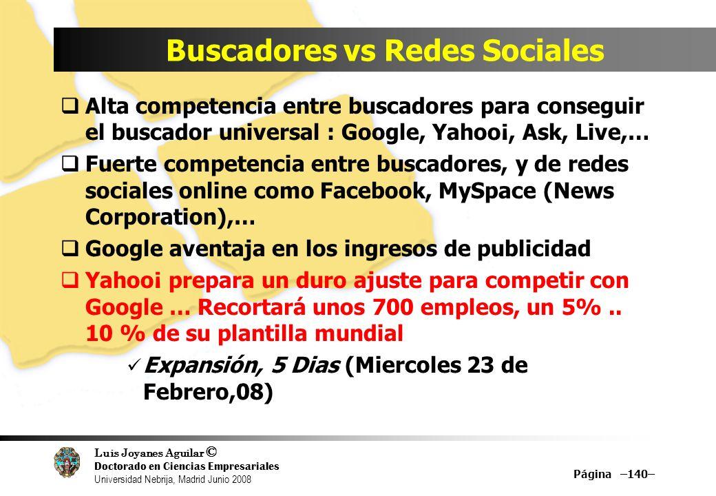 Luis Joyanes Aguilar © Doctorado en Ciencias Empresariales Universidad Nebrija, Madrid Junio 2008 Buscadores vs Redes Sociales Alta competencia entre