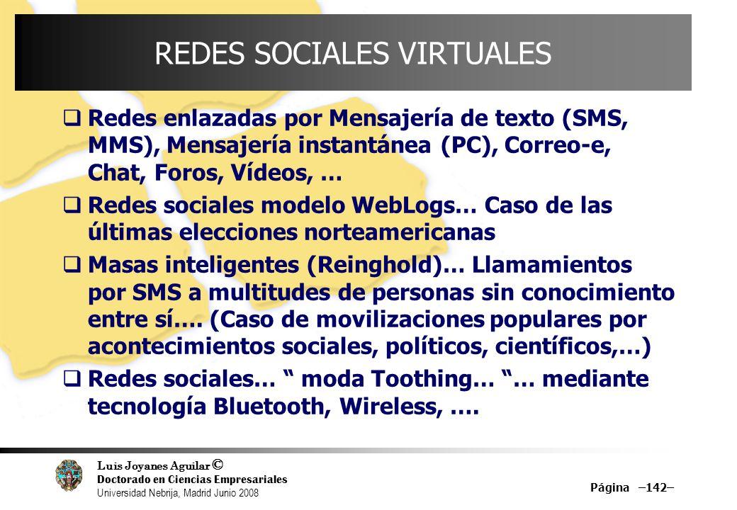 Luis Joyanes Aguilar © Doctorado en Ciencias Empresariales Universidad Nebrija, Madrid Junio 2008 Página –142– REDES SOCIALES VIRTUALES Redes enlazada