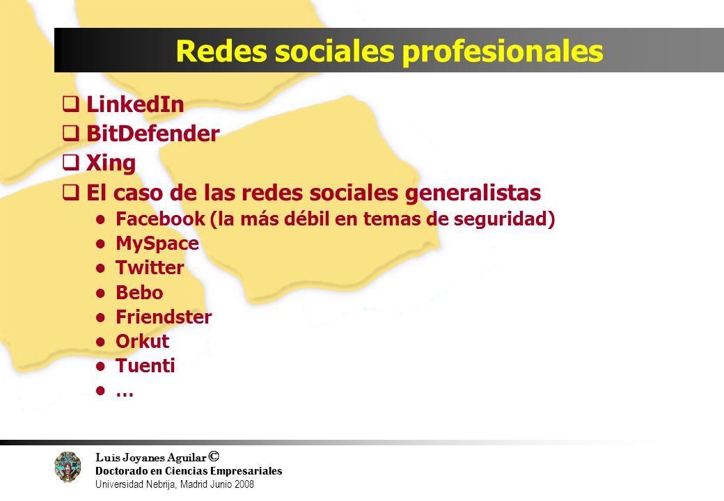 Luis Joyanes Aguilar © Doctorado en Ciencias Empresariales Universidad Nebrija, Madrid Junio 2008 Redes sociales profesionales LinkedIn BitDefender Xi