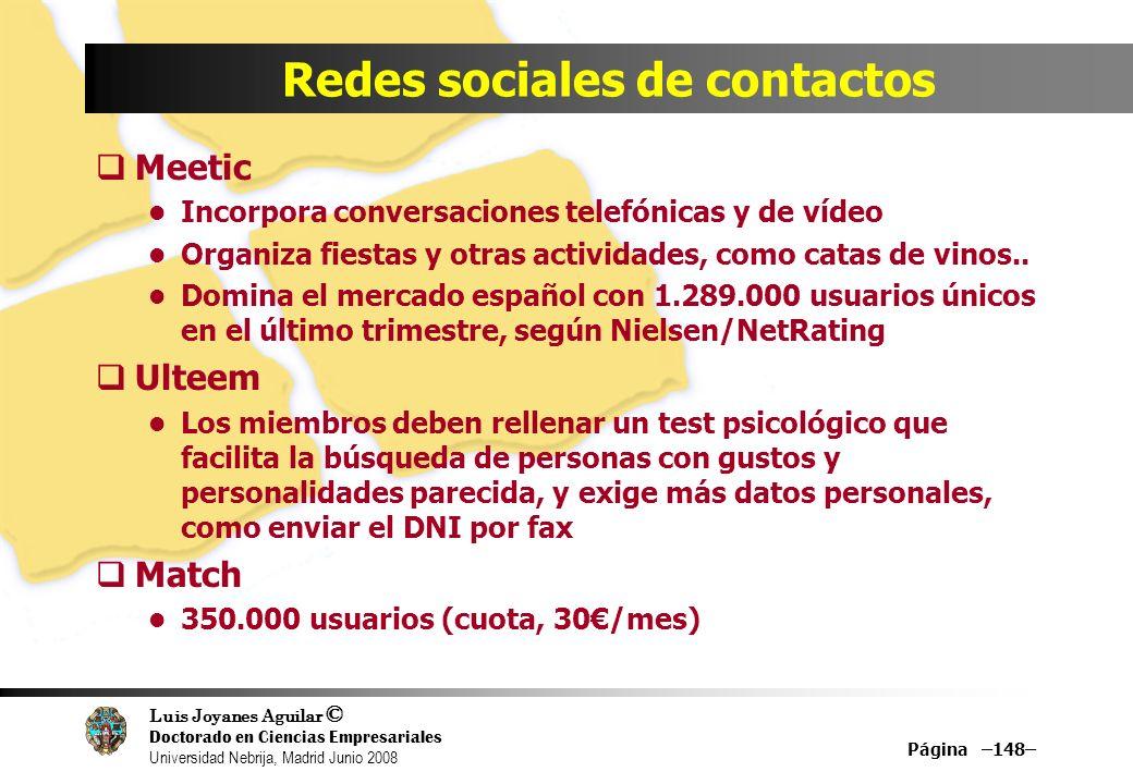 Luis Joyanes Aguilar © Doctorado en Ciencias Empresariales Universidad Nebrija, Madrid Junio 2008 Página –148– Redes sociales de contactos Meetic Inco