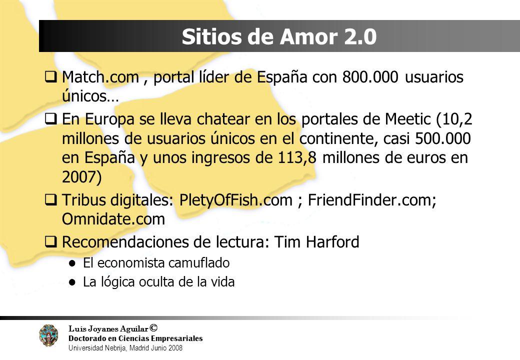 Luis Joyanes Aguilar © Doctorado en Ciencias Empresariales Universidad Nebrija, Madrid Junio 2008 Sitios de Amor 2.0 Match.com, portal líder de España