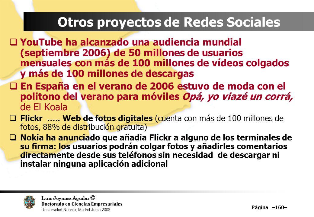 Luis Joyanes Aguilar © Doctorado en Ciencias Empresariales Universidad Nebrija, Madrid Junio 2008 Página –160– Otros proyectos de Redes Sociales YouTu