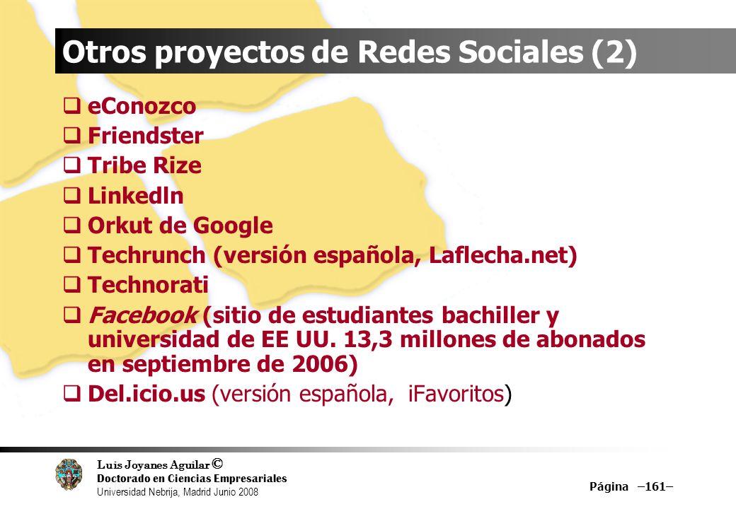Luis Joyanes Aguilar © Doctorado en Ciencias Empresariales Universidad Nebrija, Madrid Junio 2008 Página –161– Otros proyectos de Redes Sociales (2) e
