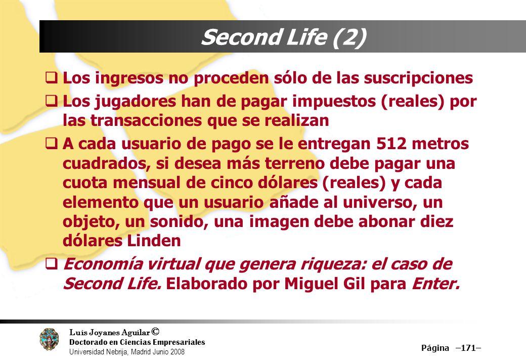 Luis Joyanes Aguilar © Doctorado en Ciencias Empresariales Universidad Nebrija, Madrid Junio 2008 Página –171– Second Life (2) Los ingresos no procede
