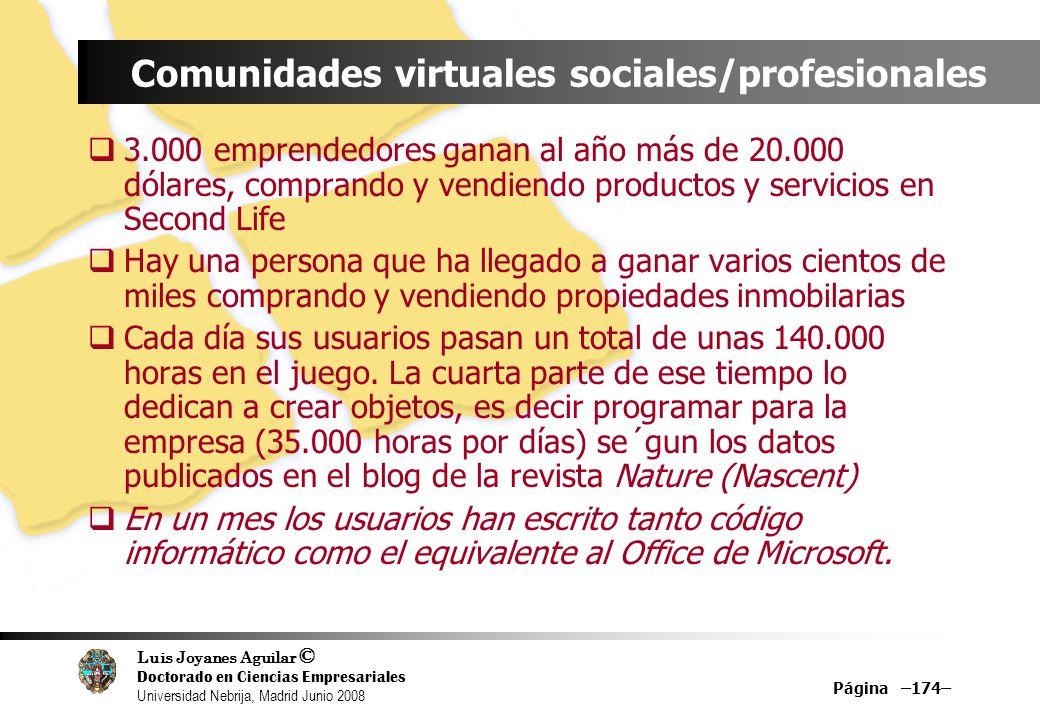 Luis Joyanes Aguilar © Doctorado en Ciencias Empresariales Universidad Nebrija, Madrid Junio 2008 Página –174– Comunidades virtuales sociales/profesio