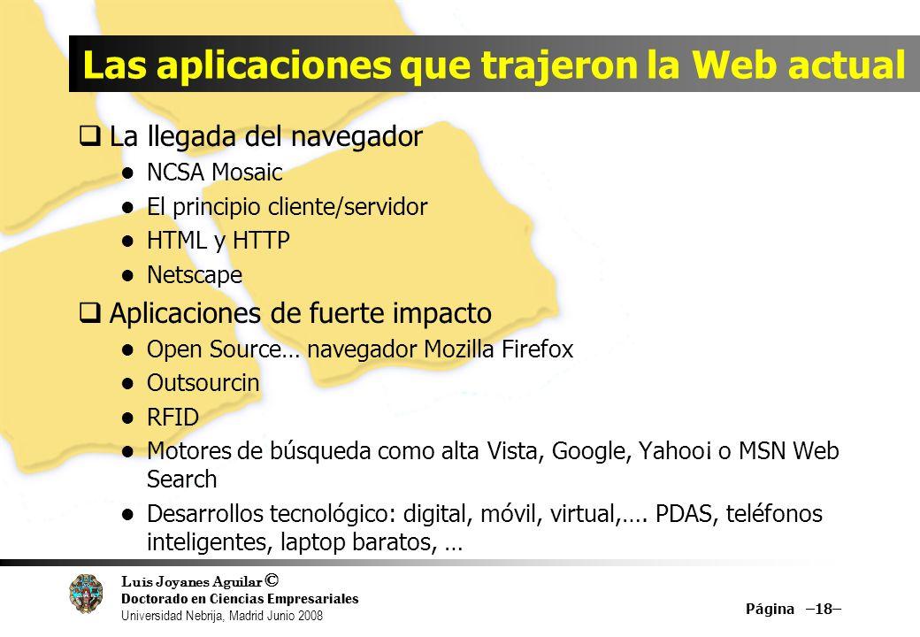 Luis Joyanes Aguilar © Doctorado en Ciencias Empresariales Universidad Nebrija, Madrid Junio 2008 Las aplicaciones que trajeron la Web actual La llega