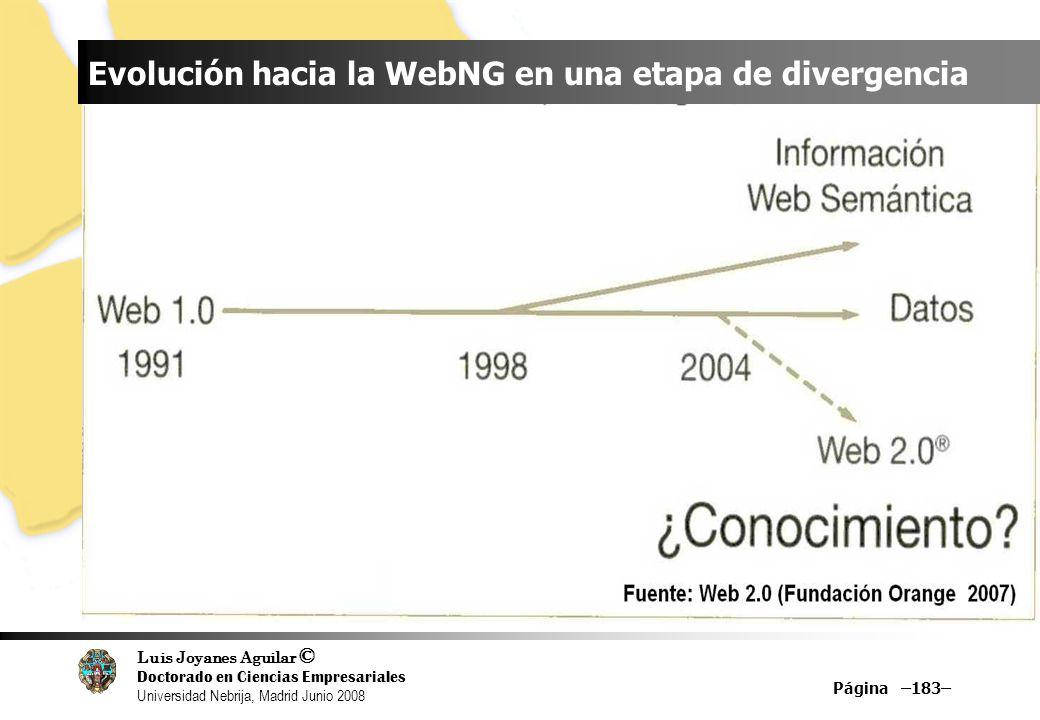 Luis Joyanes Aguilar © Doctorado en Ciencias Empresariales Universidad Nebrija, Madrid Junio 2008 Página –183– Evolución hacia la WebNG en una etapa d