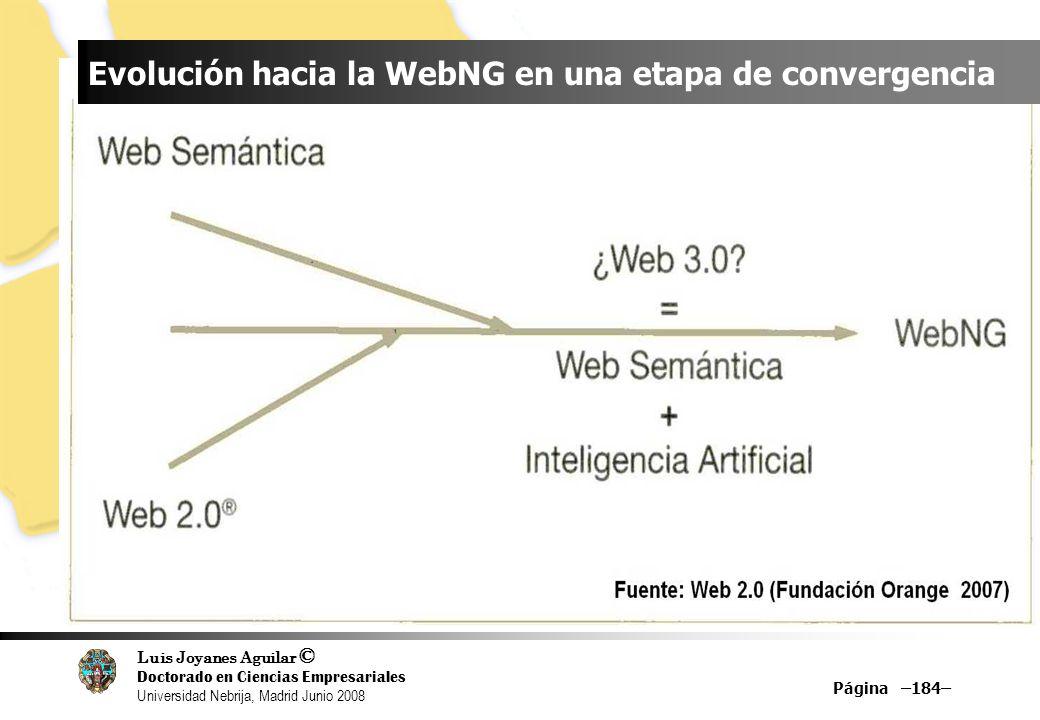 Luis Joyanes Aguilar © Doctorado en Ciencias Empresariales Universidad Nebrija, Madrid Junio 2008 Página –184– Evolución hacia la WebNG en una etapa d