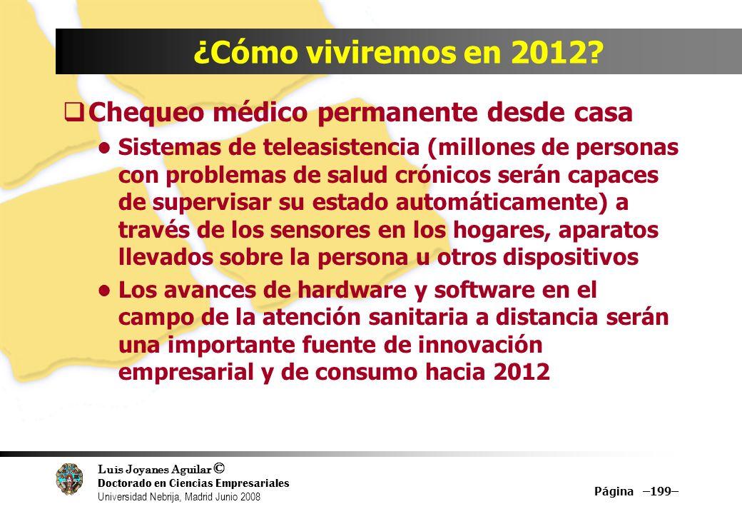 Luis Joyanes Aguilar © Doctorado en Ciencias Empresariales Universidad Nebrija, Madrid Junio 2008 Página –199– ¿Cómo viviremos en 2012? Chequeo médico