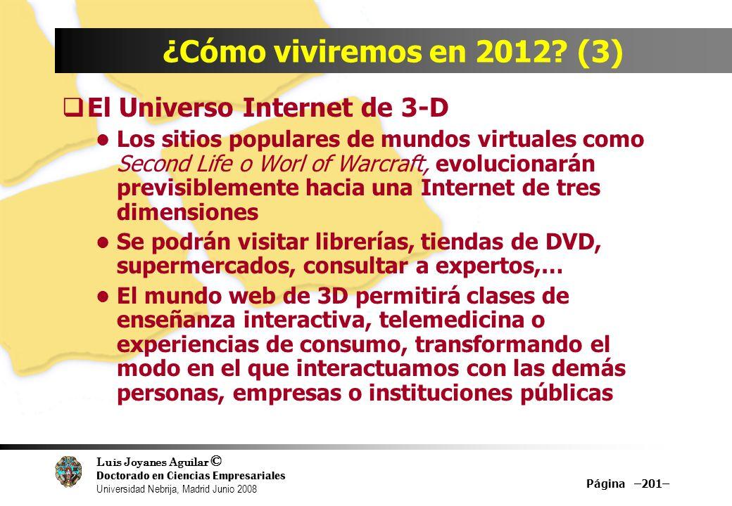 Luis Joyanes Aguilar © Doctorado en Ciencias Empresariales Universidad Nebrija, Madrid Junio 2008 Página –201– ¿Cómo viviremos en 2012? (3) El Univers