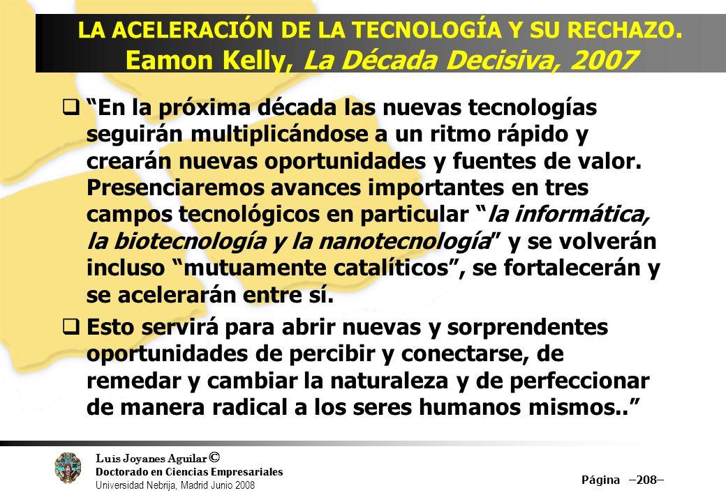 Luis Joyanes Aguilar © Doctorado en Ciencias Empresariales Universidad Nebrija, Madrid Junio 2008 Página –208– LA ACELERACIÓN DE LA TECNOLOGÍA Y SU RE
