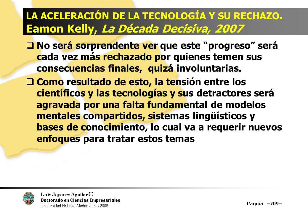 Luis Joyanes Aguilar © Doctorado en Ciencias Empresariales Universidad Nebrija, Madrid Junio 2008 Página –209– LA ACELERACIÓN DE LA TECNOLOGÍA Y SU RE