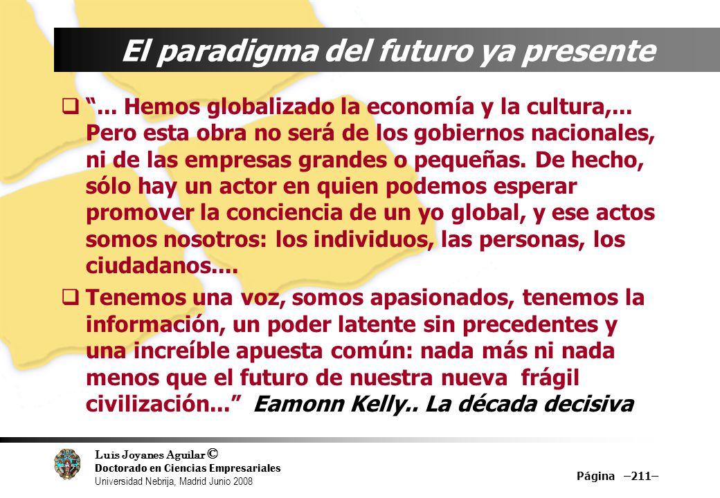 Luis Joyanes Aguilar © Doctorado en Ciencias Empresariales Universidad Nebrija, Madrid Junio 2008 Página –211– El paradigma del futuro ya presente...