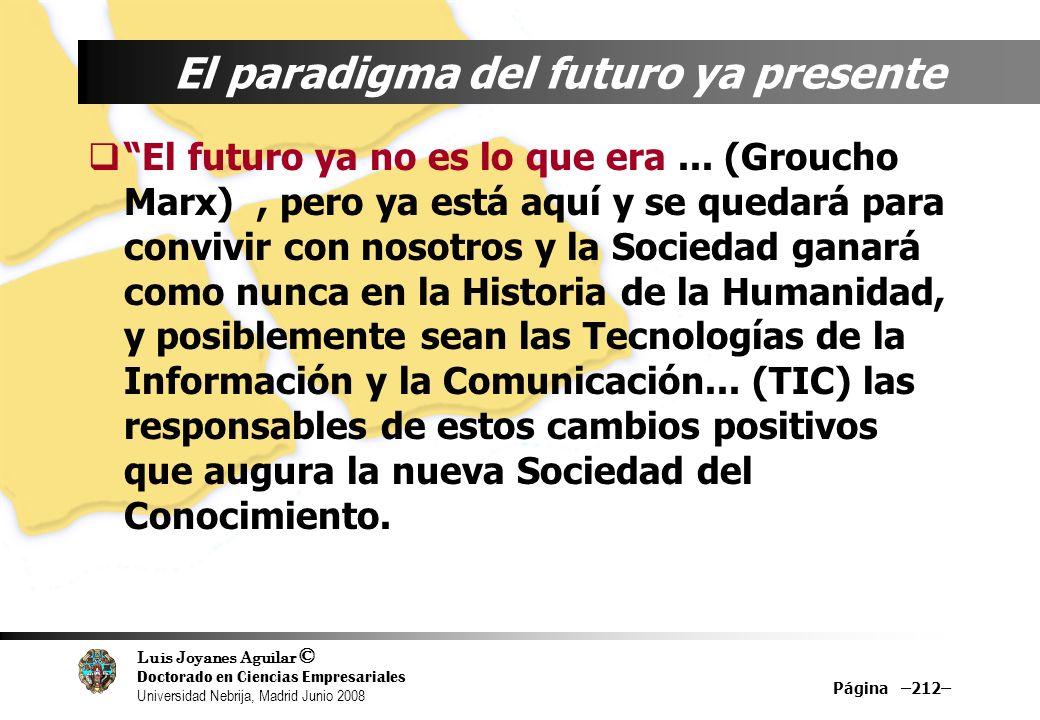 Luis Joyanes Aguilar © Doctorado en Ciencias Empresariales Universidad Nebrija, Madrid Junio 2008 Página –212– El paradigma del futuro ya presente El