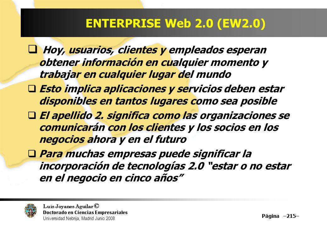 Luis Joyanes Aguilar © Doctorado en Ciencias Empresariales Universidad Nebrija, Madrid Junio 2008 Página –215– ENTERPRISE Web 2.0 (EW2.0) Hoy, usuario