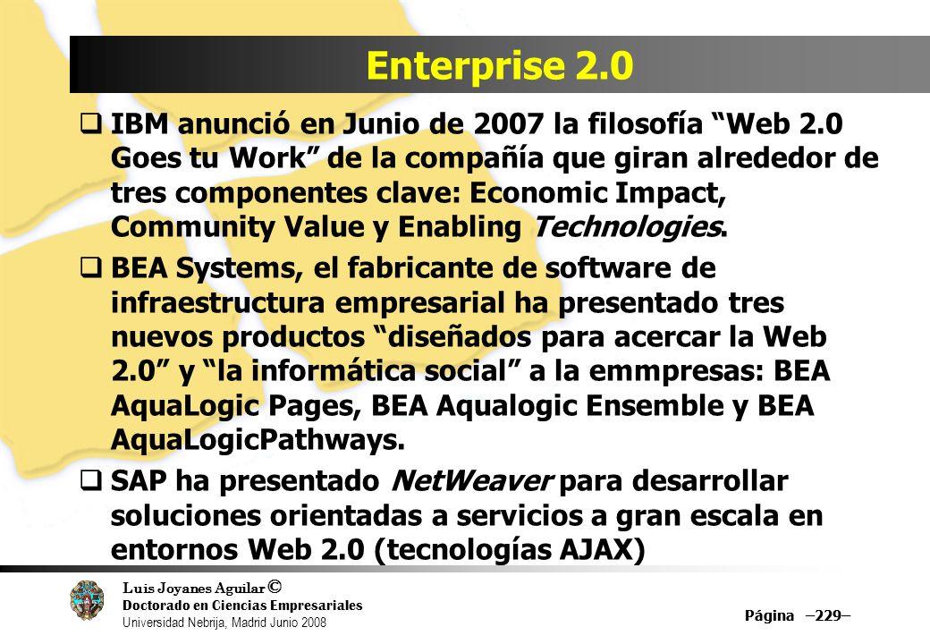 Luis Joyanes Aguilar © Doctorado en Ciencias Empresariales Universidad Nebrija, Madrid Junio 2008 Página –229– Enterprise 2.0 IBM anunció en Junio de