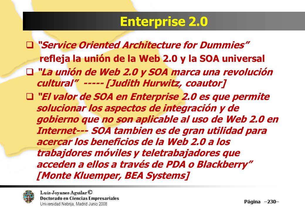 Luis Joyanes Aguilar © Doctorado en Ciencias Empresariales Universidad Nebrija, Madrid Junio 2008 Página –230– Enterprise 2.0 Service Oriented Archite