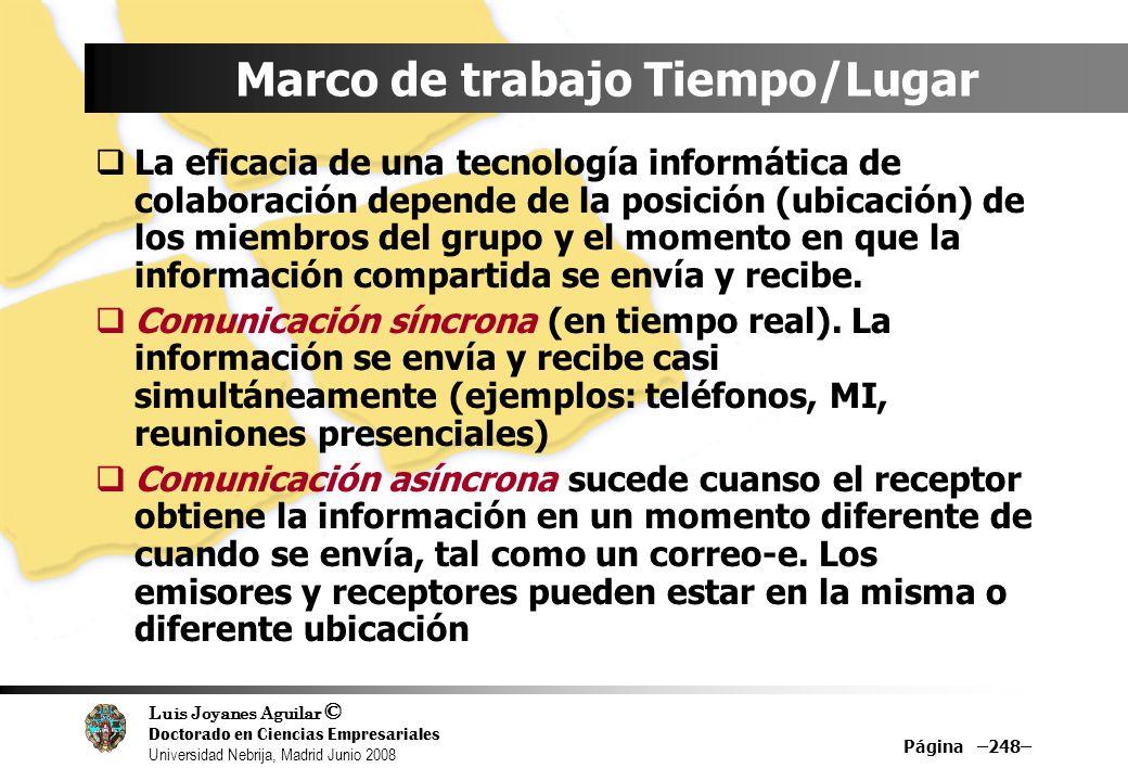 Luis Joyanes Aguilar © Doctorado en Ciencias Empresariales Universidad Nebrija, Madrid Junio 2008 Marco de trabajo Tiempo/Lugar La eficacia de una tec