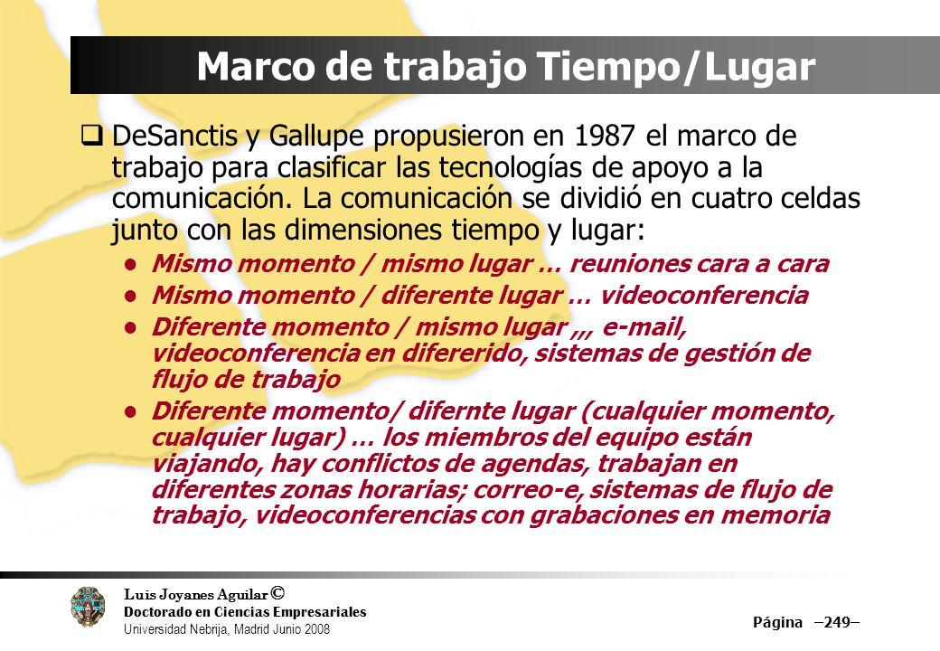 Luis Joyanes Aguilar © Doctorado en Ciencias Empresariales Universidad Nebrija, Madrid Junio 2008 Marco de trabajo Tiempo/Lugar DeSanctis y Gallupe pr