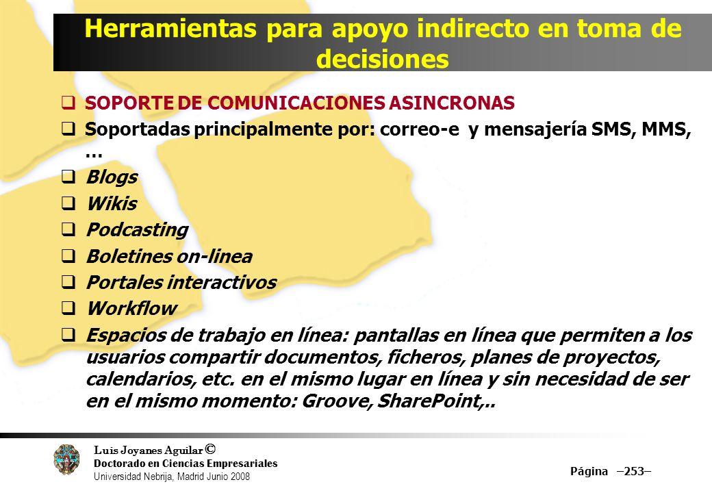 Luis Joyanes Aguilar © Doctorado en Ciencias Empresariales Universidad Nebrija, Madrid Junio 2008 Herramientas para apoyo indirecto en toma de decisio