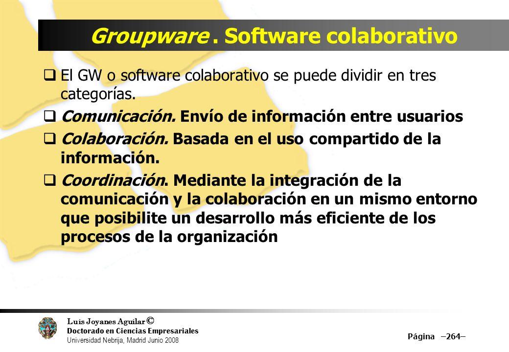 Luis Joyanes Aguilar © Doctorado en Ciencias Empresariales Universidad Nebrija, Madrid Junio 2008 Groupware. Software colaborativo El GW o software co
