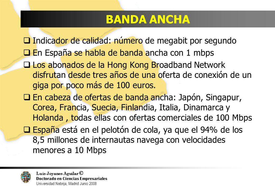 Luis Joyanes Aguilar © Doctorado en Ciencias Empresariales Universidad Nebrija, Madrid Junio 2008 BANDA ANCHA Indicador de calidad: número de megabit