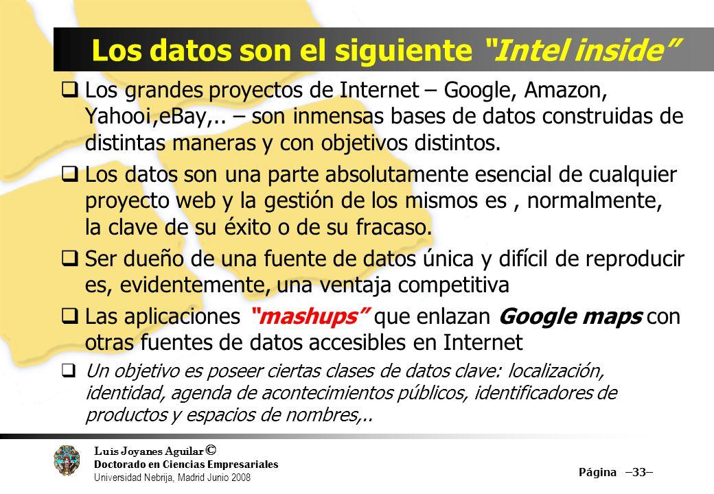 Luis Joyanes Aguilar © Doctorado en Ciencias Empresariales Universidad Nebrija, Madrid Junio 2008 Los grandes proyectos de Internet – Google, Amazon,