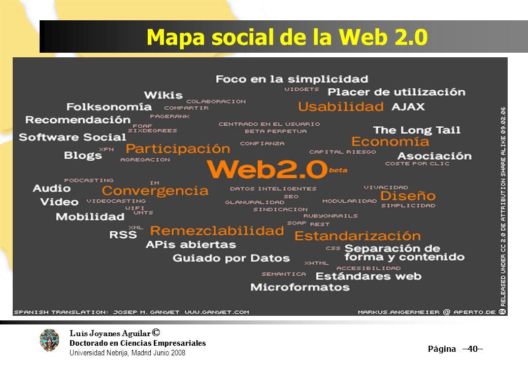 Luis Joyanes Aguilar © Doctorado en Ciencias Empresariales Universidad Nebrija, Madrid Junio 2008 Mapa social de la Web 2.0 Página –40–