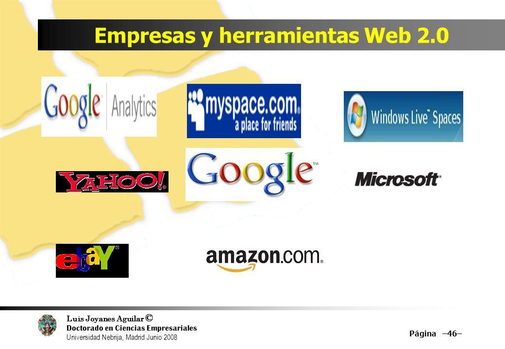 Luis Joyanes Aguilar © Doctorado en Ciencias Empresariales Universidad Nebrija, Madrid Junio 2008 Empresas y herramientas Web 2.0 Página –46–