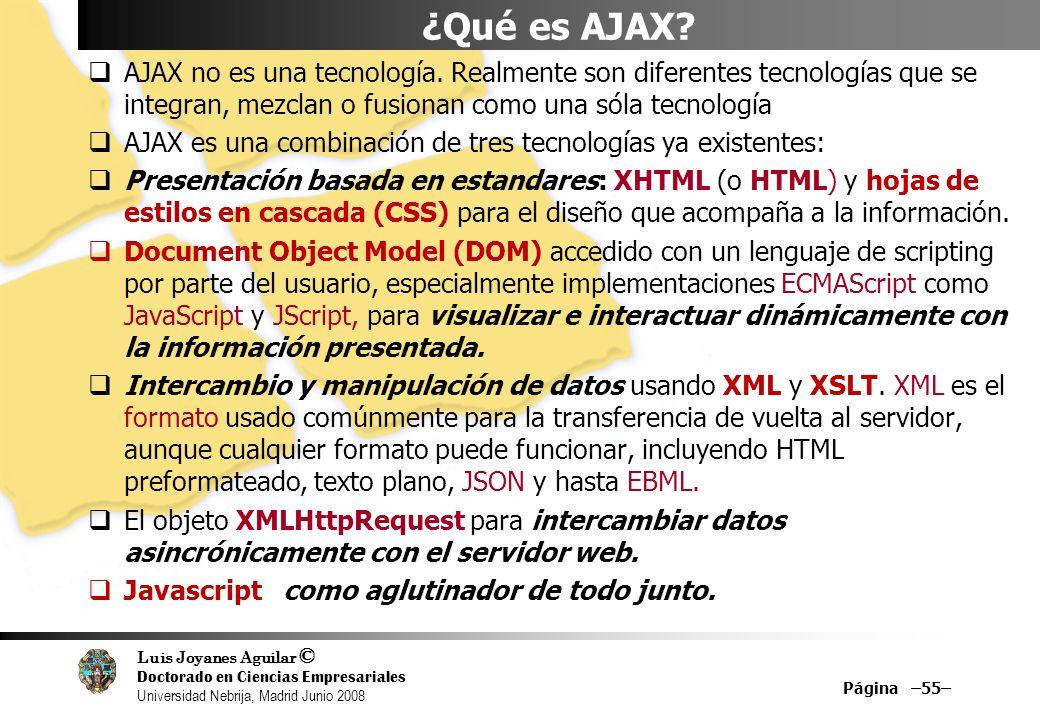Luis Joyanes Aguilar © Doctorado en Ciencias Empresariales Universidad Nebrija, Madrid Junio 2008 Página –55– ¿Qué es AJAX? AJAX no es una tecnología.