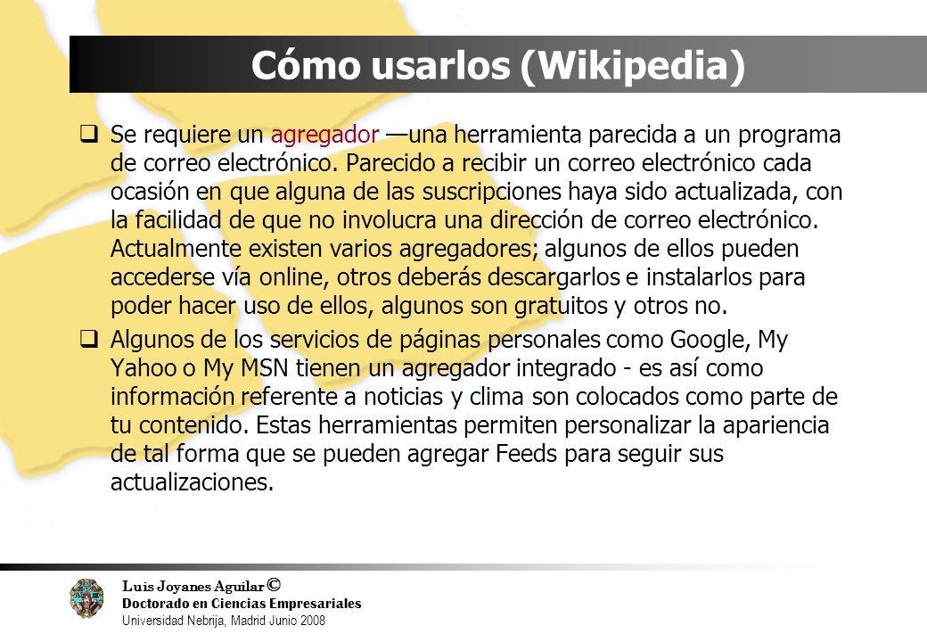 Luis Joyanes Aguilar © Doctorado en Ciencias Empresariales Universidad Nebrija, Madrid Junio 2008 Cómo usarlos (Wikipedia) Se requiere un agregador un