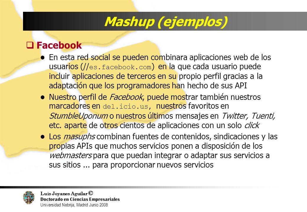 Luis Joyanes Aguilar © Doctorado en Ciencias Empresariales Universidad Nebrija, Madrid Junio 2008 Mashup (ejemplos) Facebook En esta red social se pue