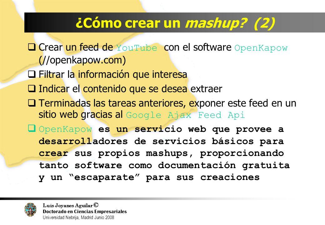 Luis Joyanes Aguilar © Doctorado en Ciencias Empresariales Universidad Nebrija, Madrid Junio 2008 ¿Cómo crear un mashup? (2) Crear un feed de YouTube