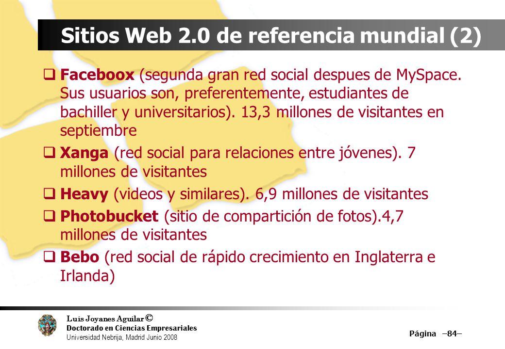 Luis Joyanes Aguilar © Doctorado en Ciencias Empresariales Universidad Nebrija, Madrid Junio 2008 Página –84– Sitios Web 2.0 de referencia mundial (2)