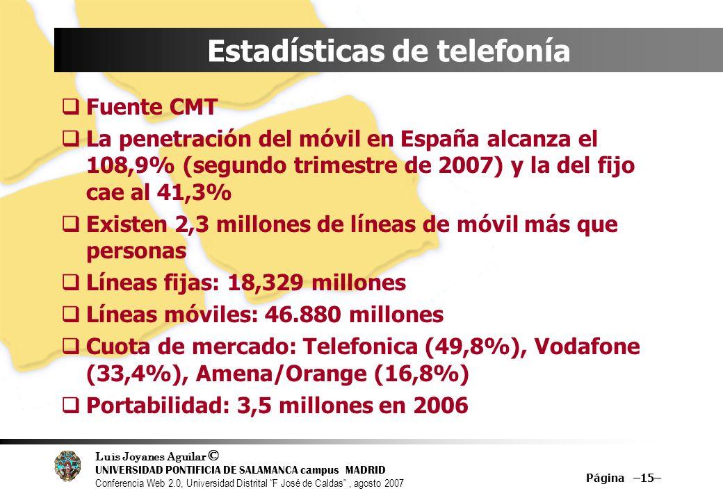 Luis Joyanes Aguilar © UNIVERSIDAD PONTIFICIA DE SALAMANCA campus MADRID Conferencia Web 2.0, Universidad Distrital F José de Caldas, agosto 2007 Página –15– Estadísticas de telefonía Fuente CMT La penetración del móvil en España alcanza el 108,9% (segundo trimestre de 2007) y la del fijo cae al 41,3% Existen 2,3 millones de líneas de móvil más que personas Líneas fijas: 18,329 millones Líneas móviles: 46.880 millones Cuota de mercado: Telefonica (49,8%), Vodafone (33,4%), Amena/Orange (16,8%) Portabilidad: 3,5 millones en 2006