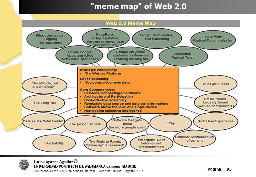 Luis Joyanes Aguilar © UNIVERSIDAD PONTIFICIA DE SALAMANCA campus MADRID Conferencia Web 2.0, Universidad Distrital F José de Caldas, agosto 2007 Página –95– meme map of Web 2.0