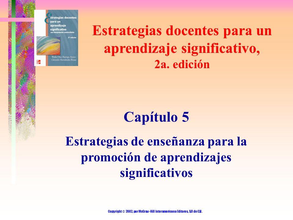 Copyright © 2002, por McGraw-Hill Interamericana Editores, S.A de C.V. Estrategias docentes para un aprendizaje significativo, 2a. edición Capítulo 5