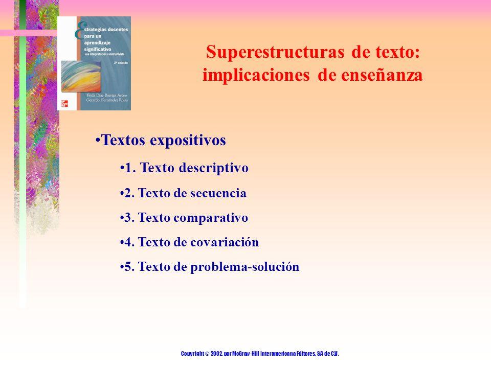 Copyright © 2002, por McGraw-Hill Interamericana Editores, S.A de C.V. Superestructuras de texto: implicaciones de enseñanza Textos expositivos 1. Tex