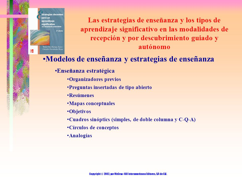 Copyright © 2002, por McGraw-Hill Interamericana Editores, S.A de C.V. Las estrategias de enseñanza y los tipos de aprendizaje significativo en las mo