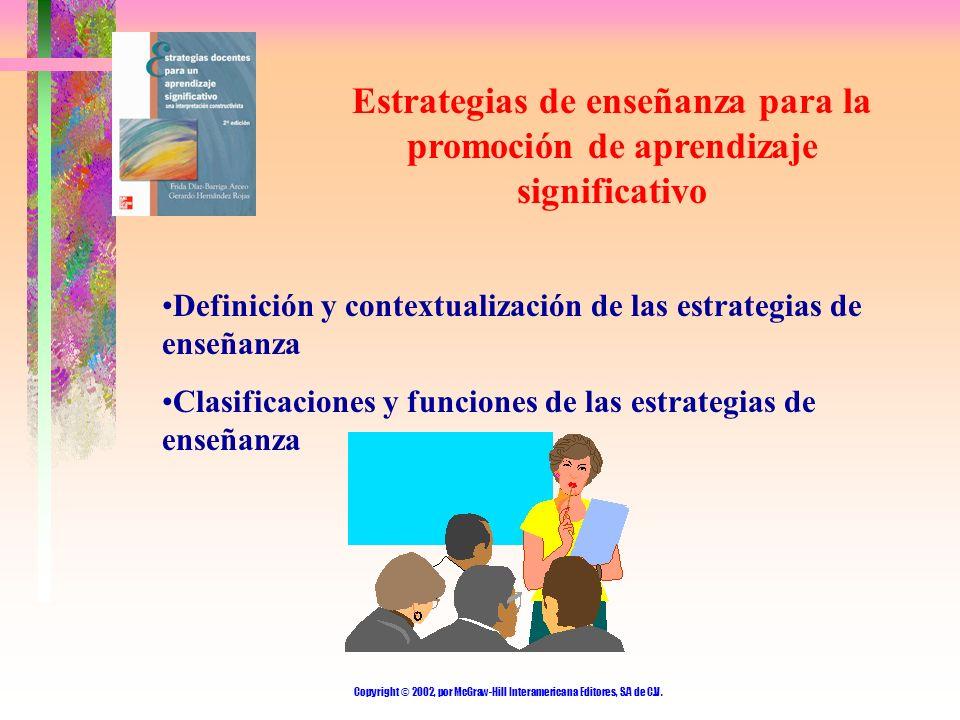 Copyright © 2002, por McGraw-Hill Interamericana Editores, S.A de C.V. Estrategias de enseñanza para la promoción de aprendizaje significativo Definic