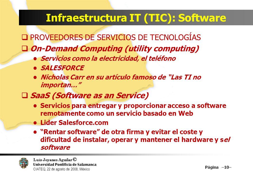 Luis Joyanes Aguilar © Universidad Pontificia de Salamanca CIATEQ, 22 de agosto de 2008, México Infraestructura IT (TIC): Software PROVEEDORES DE SERV