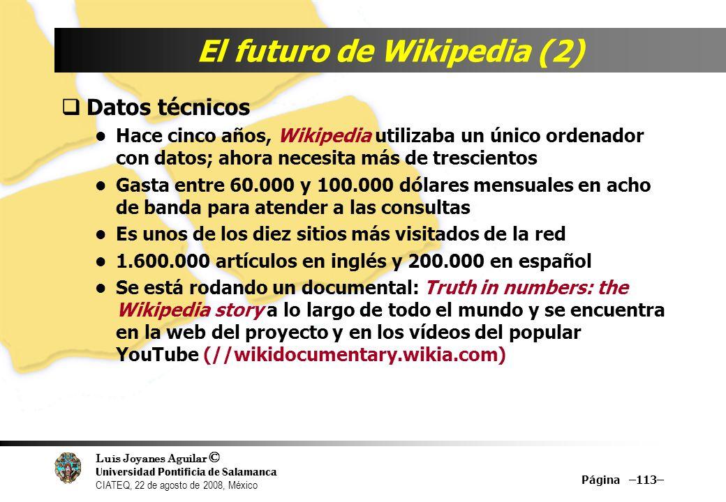 Luis Joyanes Aguilar © Universidad Pontificia de Salamanca CIATEQ, 22 de agosto de 2008, México Página –113– El futuro de Wikipedia (2) Datos técnicos