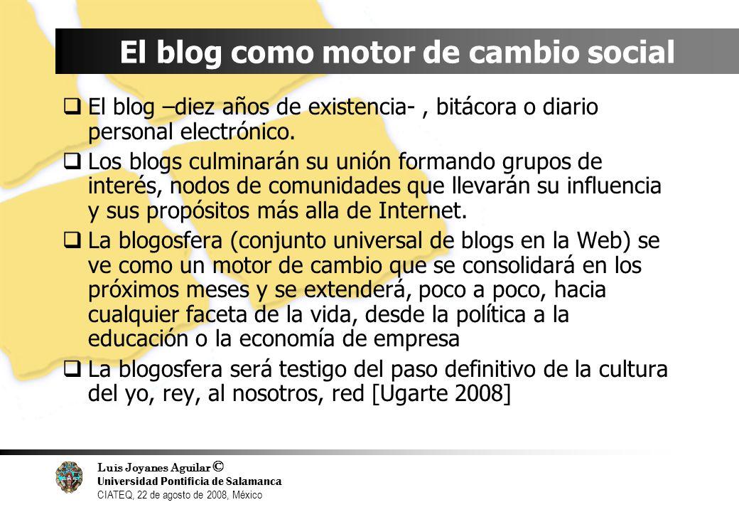 Luis Joyanes Aguilar © Universidad Pontificia de Salamanca CIATEQ, 22 de agosto de 2008, México El blog como motor de cambio social El blog –diez años