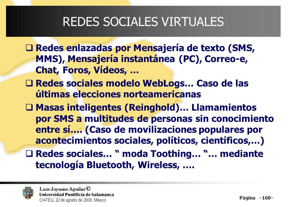 Luis Joyanes Aguilar © Universidad Pontificia de Salamanca CIATEQ, 22 de agosto de 2008, México Página –160– REDES SOCIALES VIRTUALES Redes enlazadas