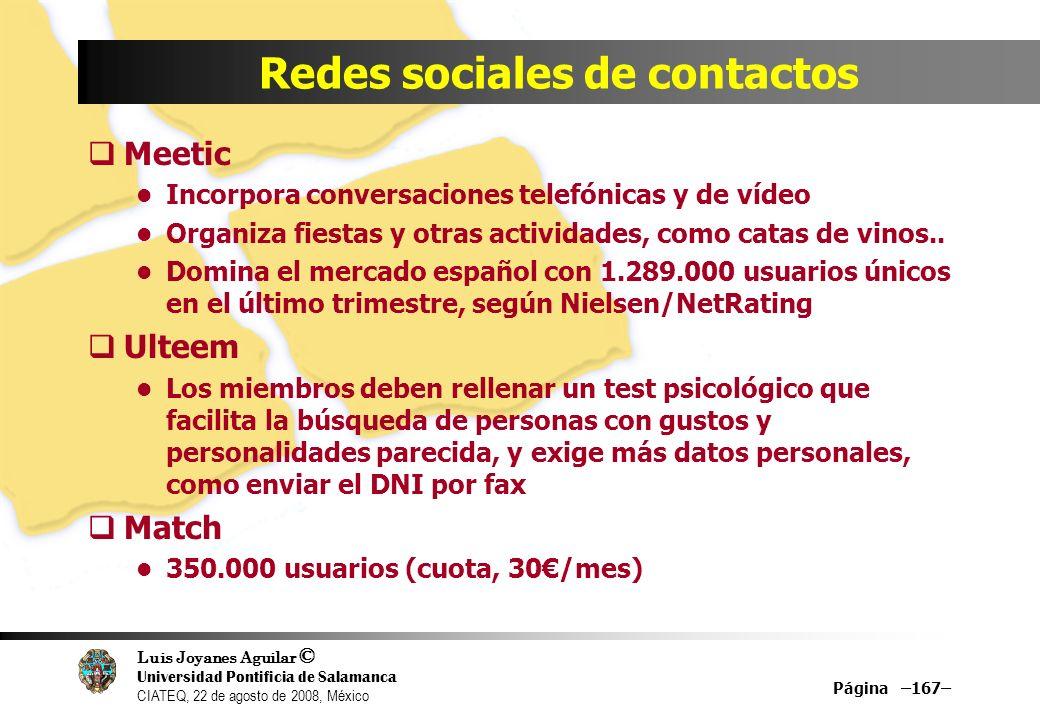 Luis Joyanes Aguilar © Universidad Pontificia de Salamanca CIATEQ, 22 de agosto de 2008, México Página –167– Redes sociales de contactos Meetic Incorp