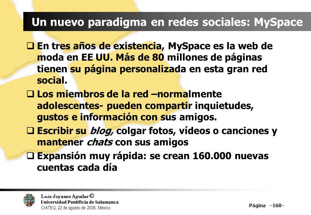 Luis Joyanes Aguilar © Universidad Pontificia de Salamanca CIATEQ, 22 de agosto de 2008, México Página –168– Un nuevo paradigma en redes sociales: MyS